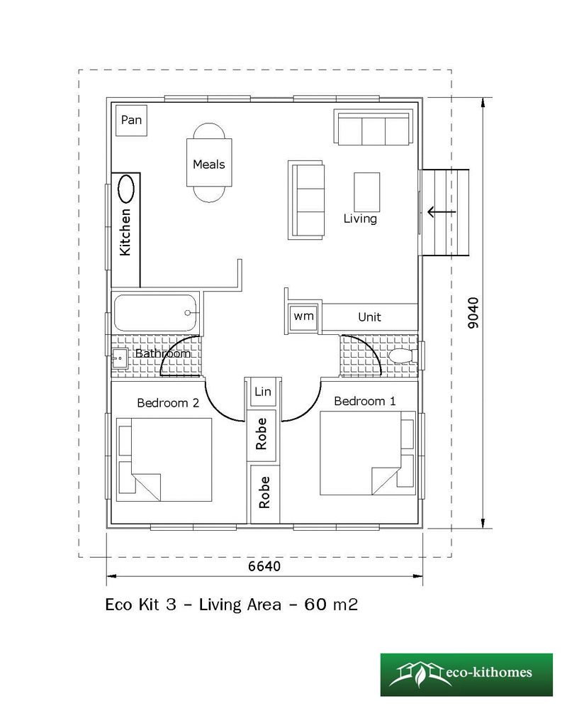 Two bedroom 60m2 eco kithomes for Home design 60m2